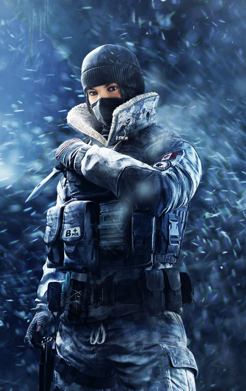 Tom Clancy's Rainbow Six Siege, girl soldier, frost, game, 840x1336 wallpaper