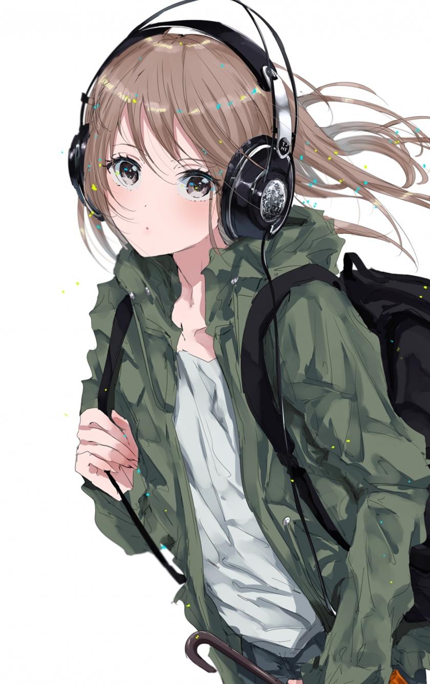Download 840x1336 Wallpaper Original Anime Girl Bag