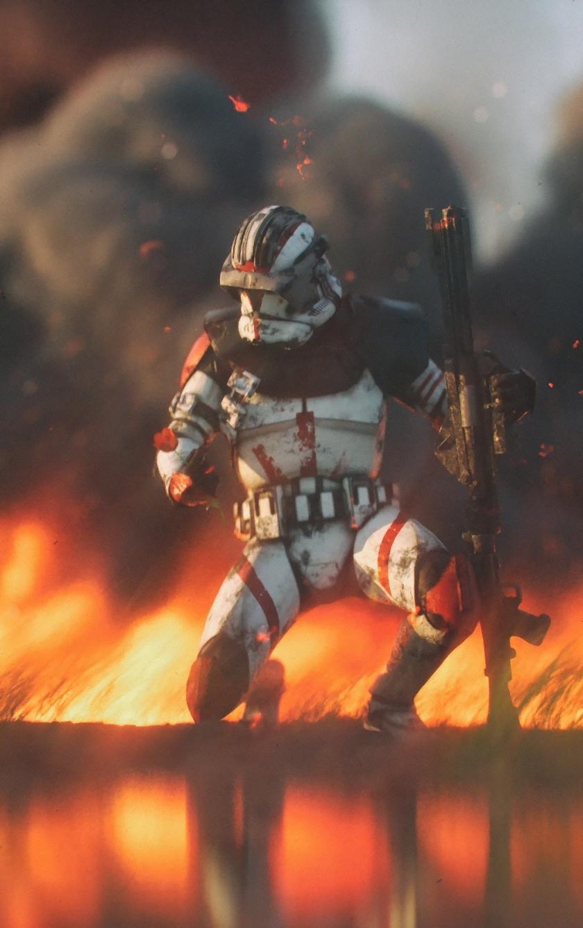 Download 840x1336 Wallpaper Clone Trooper Star Wars Fire