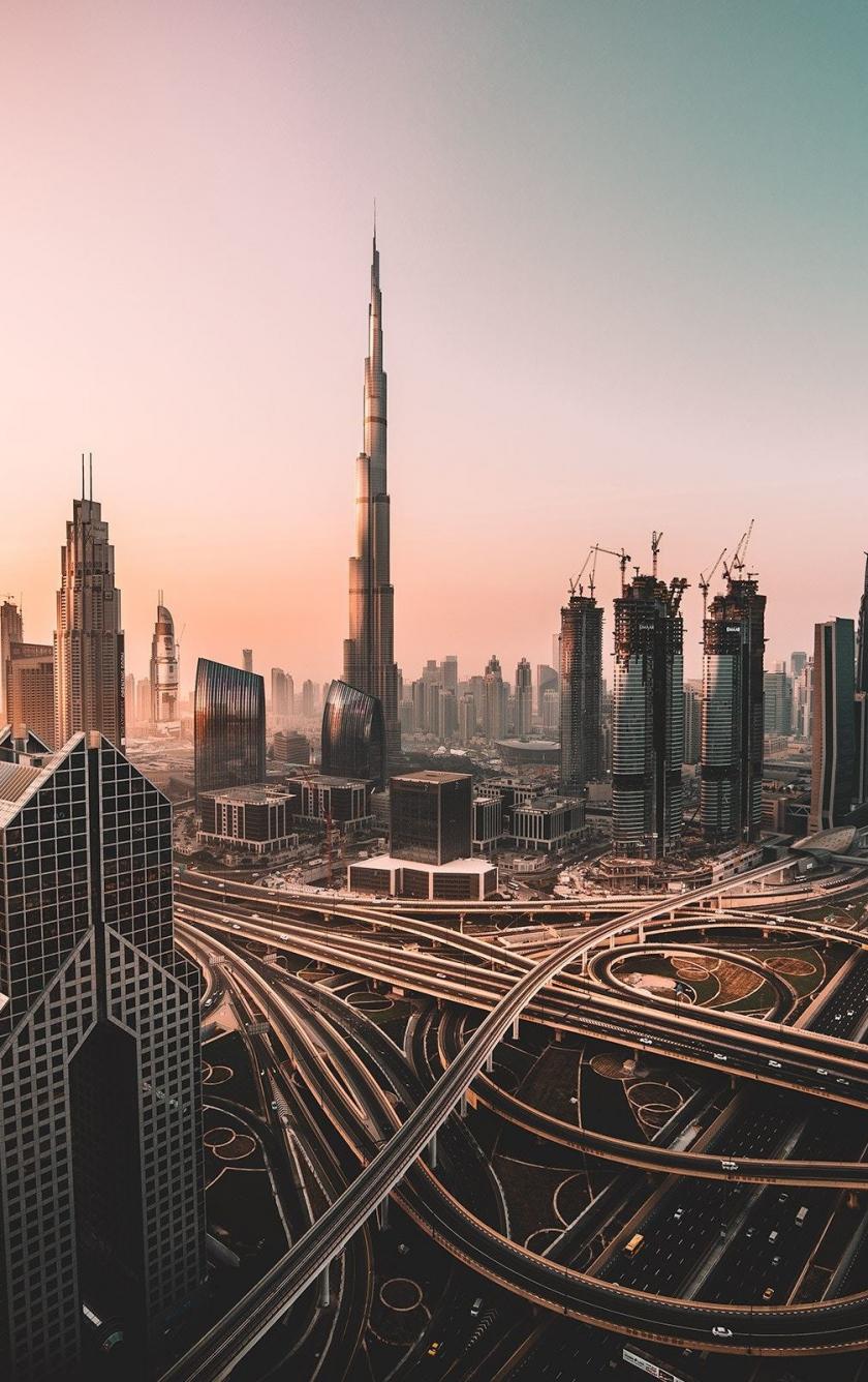 Dubai, skyline, cityscape, skyscrapers, buildings, Burj Khalifa, city, 840x1336 wallpaper