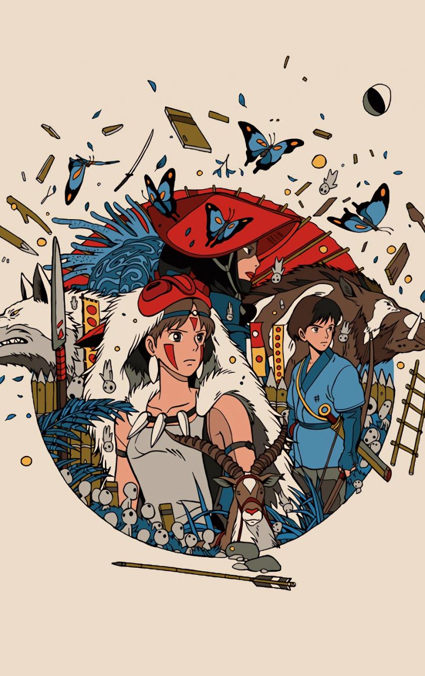 Minimal, anime, princess mononoke, 840x1336 wallpaper