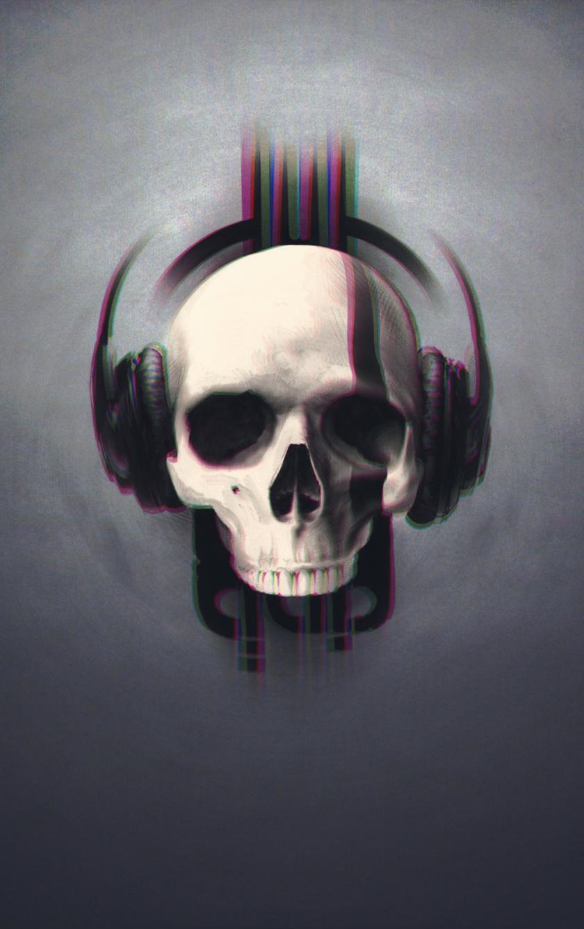 Download 840x1336 Wallpaper Skull Glitch Art Minimal