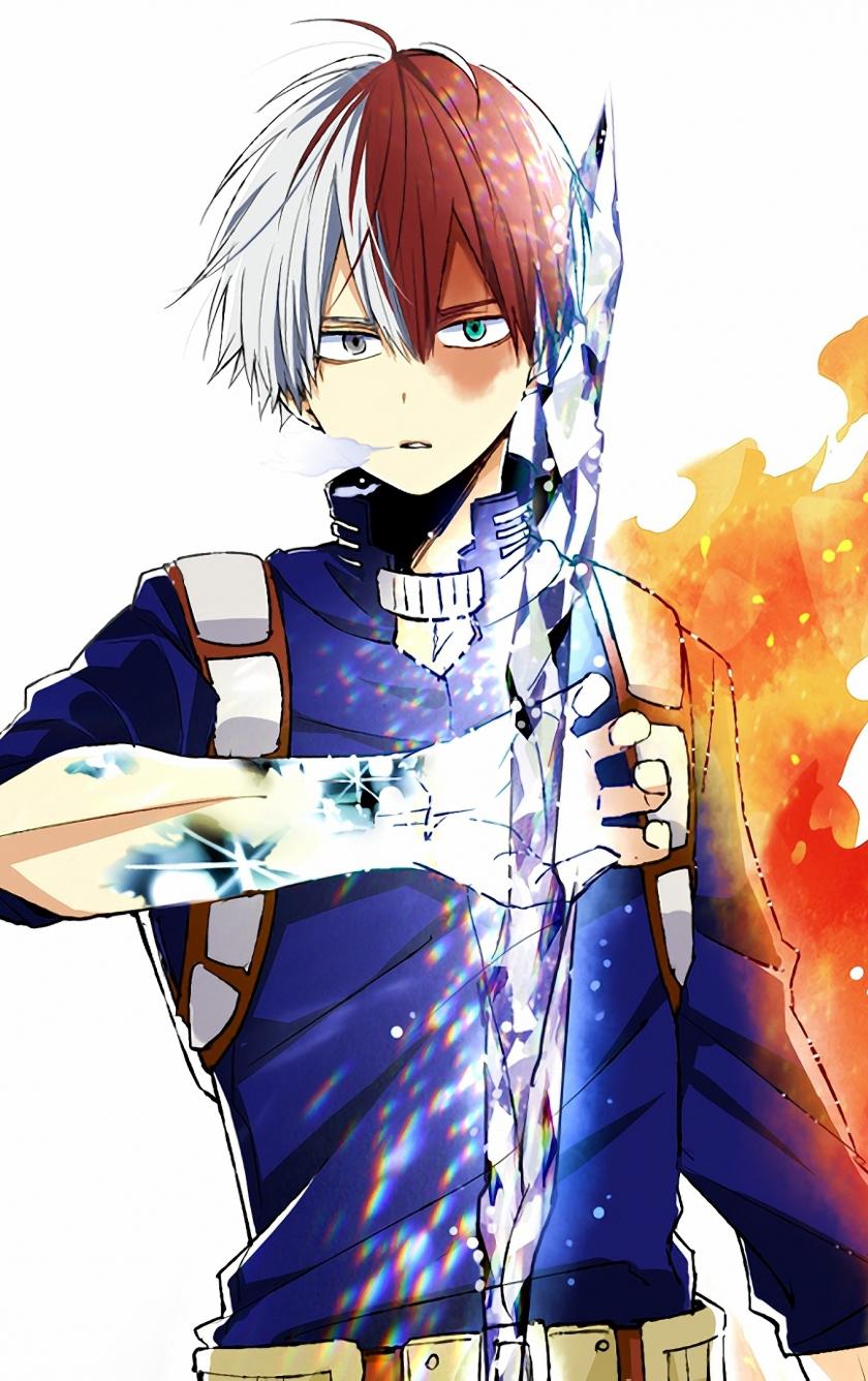 Download 840x1336 Wallpaper Anime Shouto Todoroki Ice And