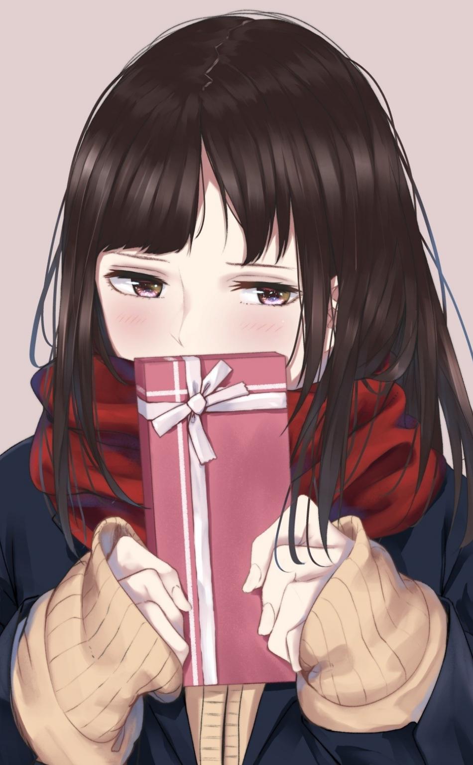 Cute Anime Girl Shy Gift Box 950x1534 Wallpaper