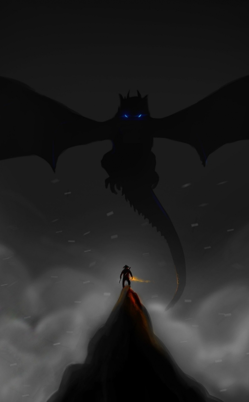 Download 950x1534 Wallpaper Dark Dragon And Warrior The Elder