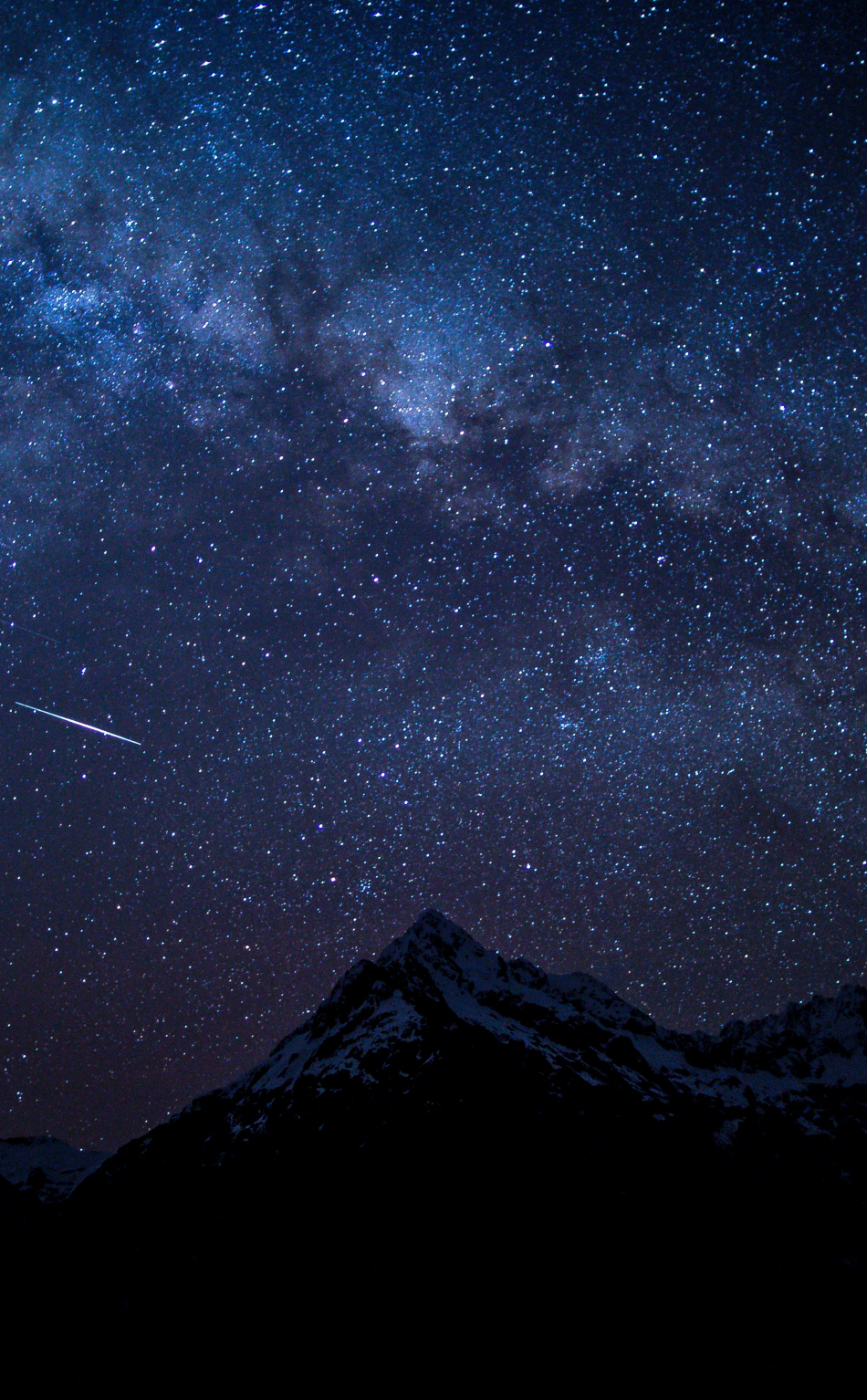 Starry sky, night, mountains, nature, 950x1534 wallpaper