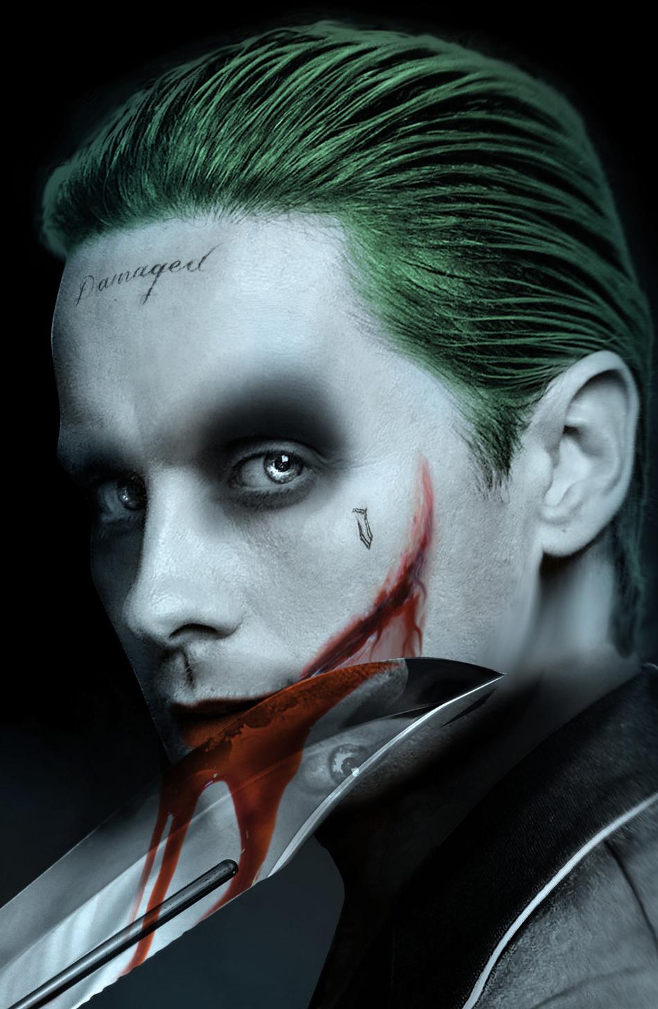 Jared Leto Joker Villain Dc Comics Fan Artwork 950x1534 Wallpaper
