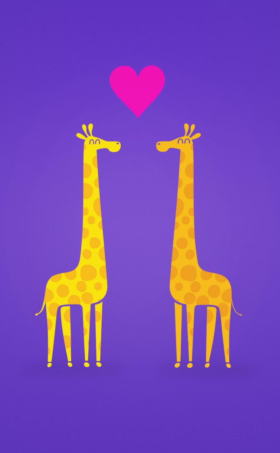 Download 950x1534 Wallpaper Giraffe Couple Love Minimal Cartoon Iphone 950x1534 Hd Image Background 231