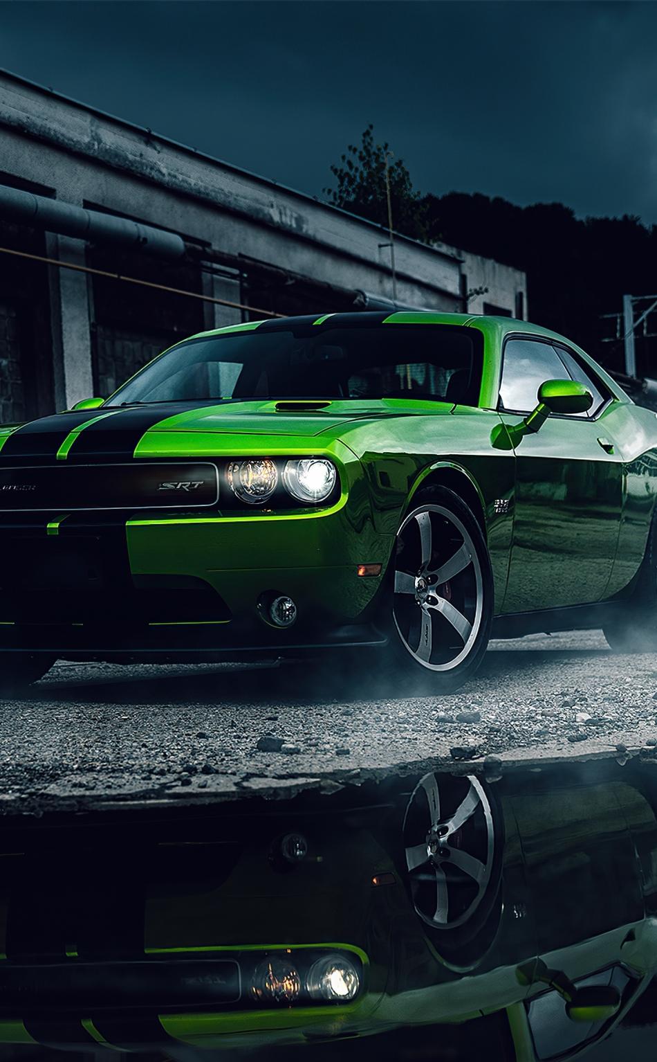 Download 950x1534 wallpaper green dodge challenger, muscle ...