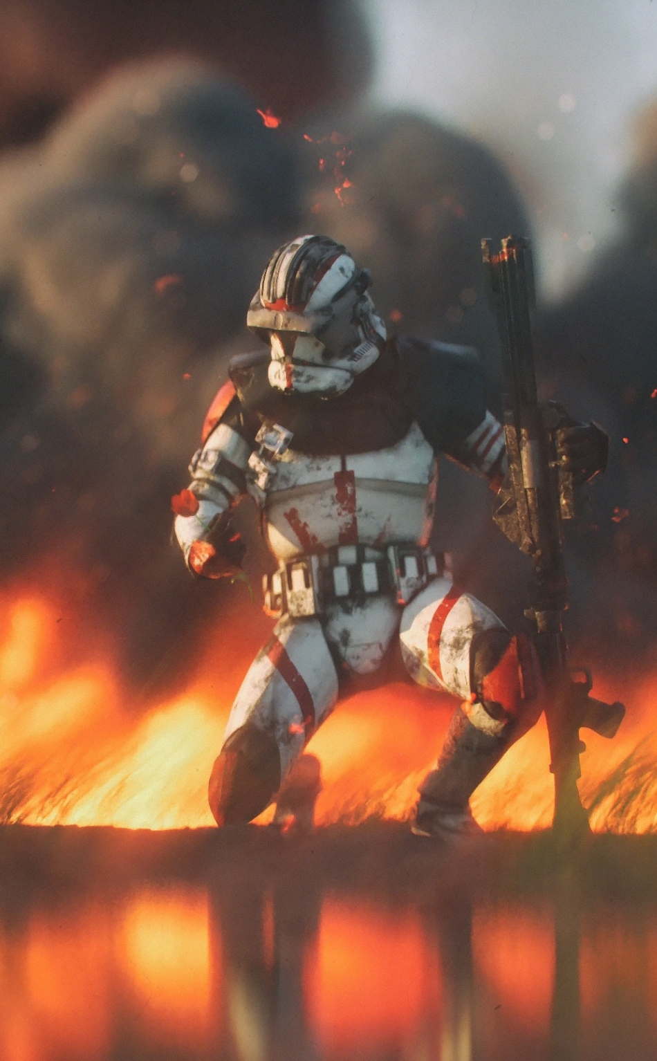 Download 950x1534 Wallpaper Clone Trooper Star Wars Fire Iphone