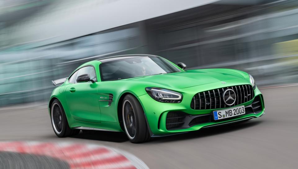Mercedes-AMG GT, green car, on-road, 960x544 wallpaper