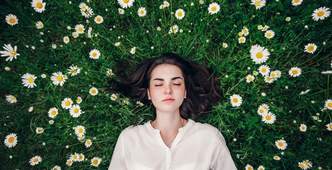 Close eyes, relaxed, outdoor, girl model wallpaper