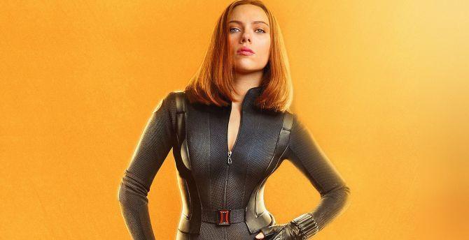 Desktop Wallpaper Black Widow Scarlett Johansson Marvel Avengers Infinity War Hd Image Picture Background 01d51a