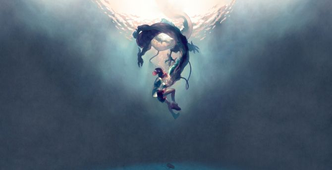 Desktop Wallpaper Anime Moive Underwater Dragon And Anime Girl Spirited Away Hd Image Picture Background 02b41b