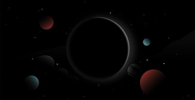 desktop wallpaper solar system, planets, dark, digital art, fantasy