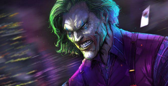 Angry joker, villain, gree hair, villain, dc comics wallpaper