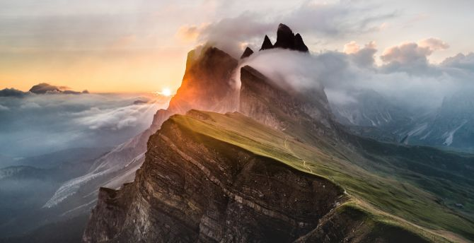 Dolomites mountain clouds nature italy