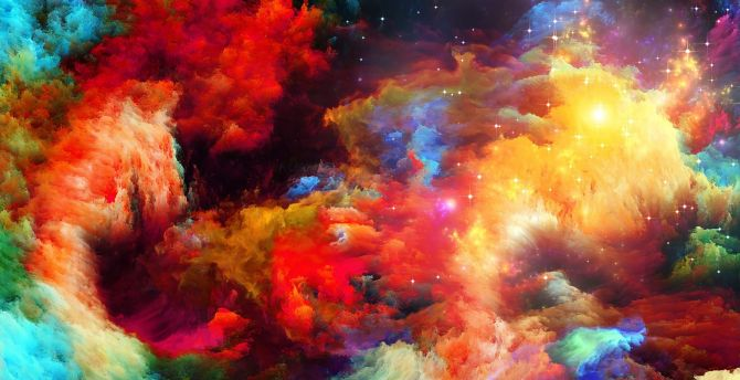 Abstract Water Painting Colors Samsung Galaxy S5 Hd: Desktop Wallpaper Abstract, Rainbow, Color, Explosion, Hd