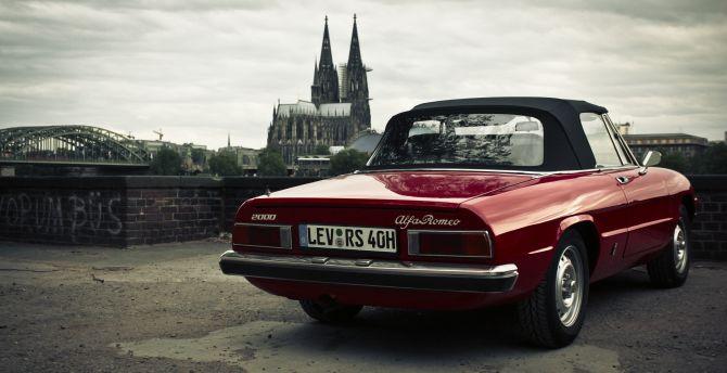 Desktop Wallpaper Alfa Romeo Classic Red Car Rear Hd Image