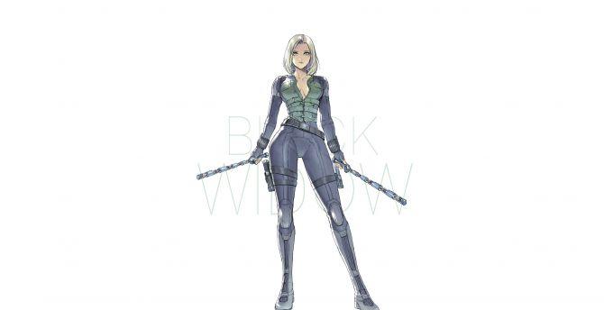Desktop Wallpaper Black Widow Minimal Artwork Superhero Avengers Infinity War Hd Image Picture Background 072c89