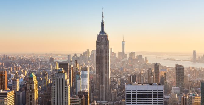 New york, city, buildings, at sunny day, sunlight wallpaper