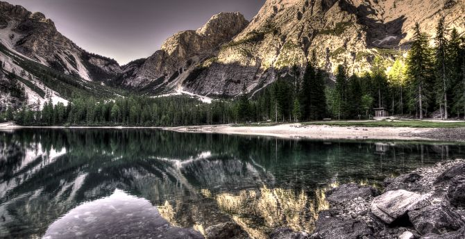 Nature, lake, rocks, forest, mountains, reflections wallpaper