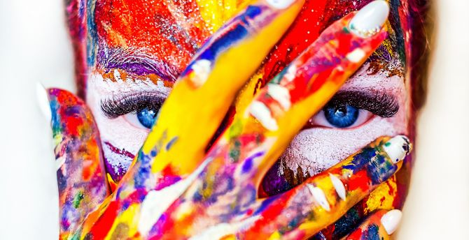 Paint on face and hand, colorful, close up wallpaper