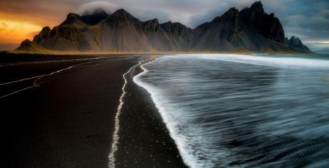 Desktop Wallpaper Dark Beach Sea Waves Nature Mountains