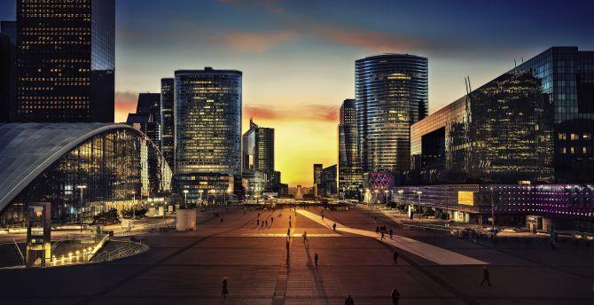 Arc de Triomphe, paris, city, night wallpaper