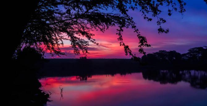 Desktop Wallpaper Twilight Sunset Colorful Sky Lake