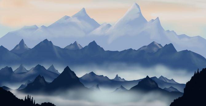 Desktop Wallpaper Mountains Digital Art Dawn Sunrise Horizon