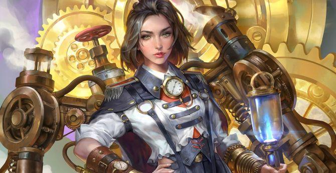 Desktop Wallpaper Woman Fantasy Warrior Artwork Steampunk Hd Image Picture Background 0bafc5