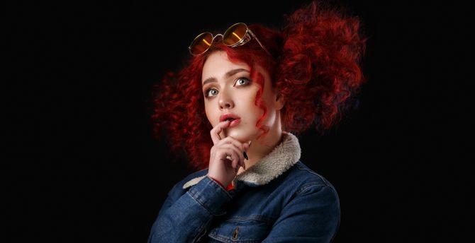 Desktop wallpaper redhead, girl model