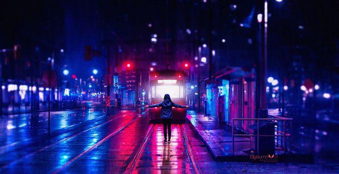 Desktop Wallpaper Vaporwave Woman At Railroad Night City Lights Art Hd Image Picture Background 0e514a