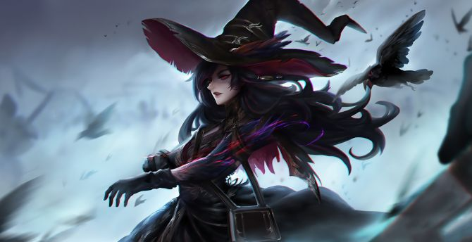 Dark, witch, fantasy, crow, raven wallpaper