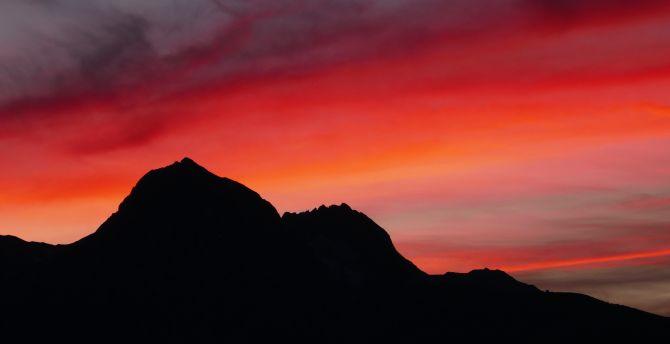 Sunset mountains sky 5k
