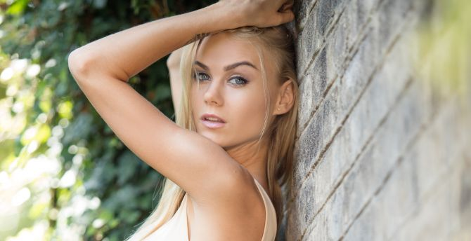 Nancy anastasiia arms up blonde girl model
