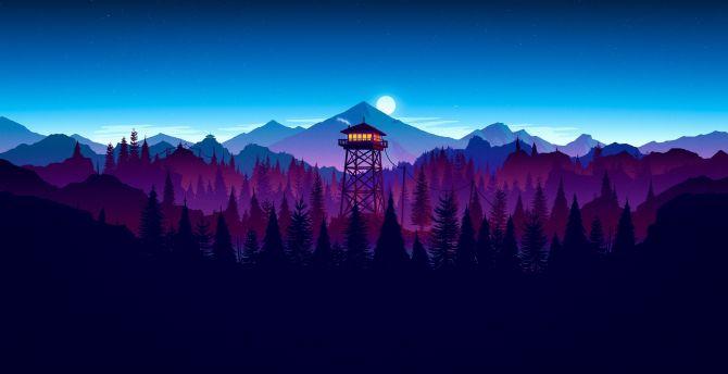 Firewatch, video game, sunset, artwork wallpaper