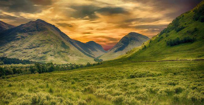 landscape green mountains sunset