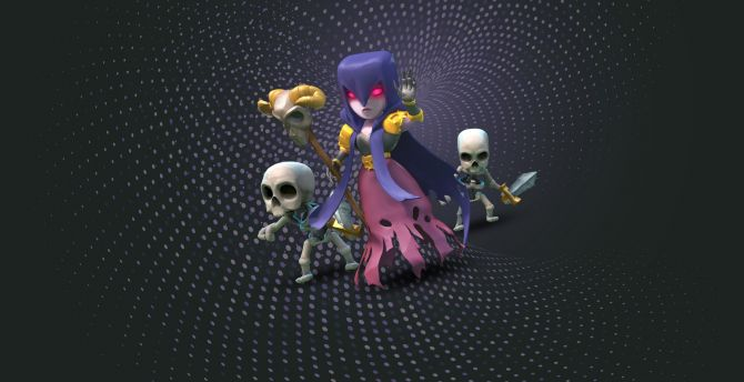 Desktop wallpaper witch, clash of clans, mobile game