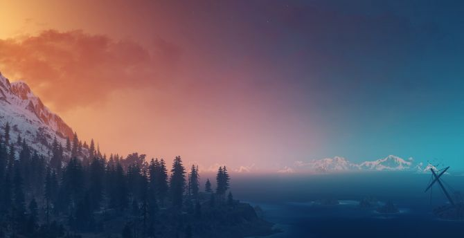 The Witcher 3: Wild Hunt, landscape, panorama, sky wallpaper