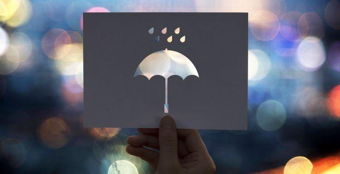 Umbrella, hand, bokeh wallpaper