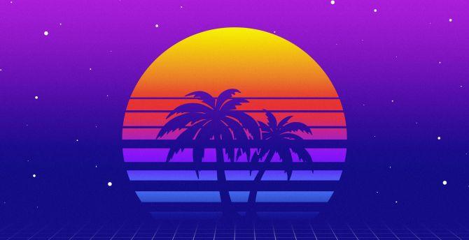 Desktop Wallpaper Retro Moon Palm Tree Artwork Hd Image Picture Background 13fb75