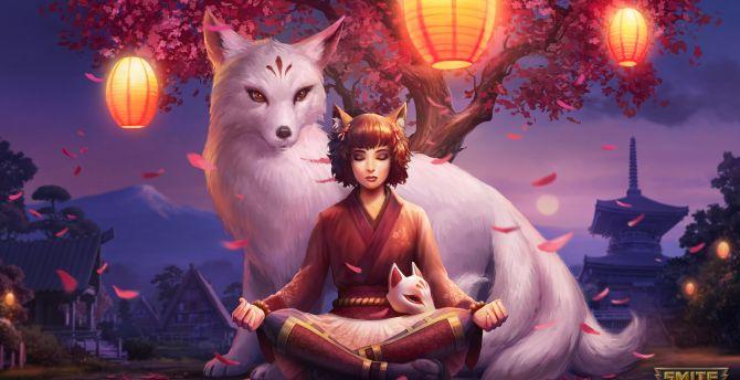 Desktop Wallpaper Elf Girl Smite Video Game Meditation Hd Image Picture Background 1446f9