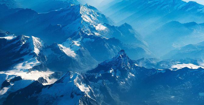 Desktop Wallpaper Aerial View Swiss Alps Mountains Hd