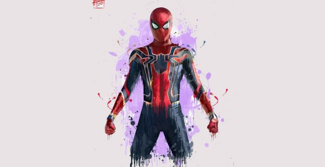 Spiderman, minimal, Avengers: infinity war, 2018, art wallpaper