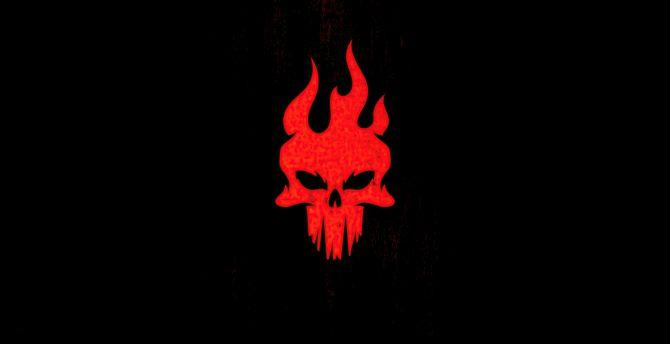 red skull, minimal, light logo ...
