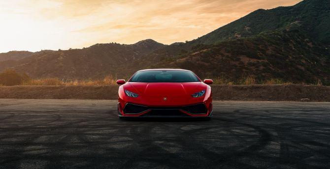 Desktop Wallpaper Car Red Lamborghini Huracan Hd Image