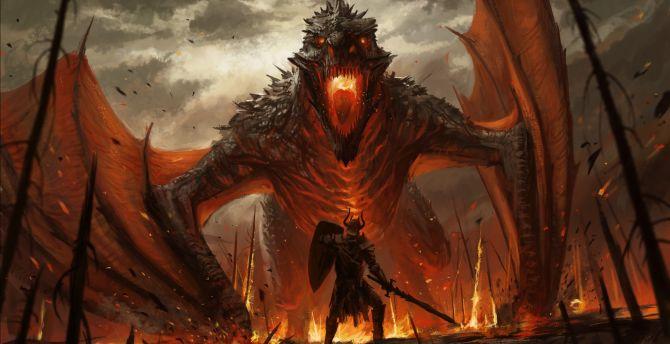 Desktop Wallpaper Dragon And Warrior Fantasy Art Hd Image