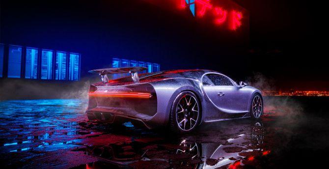 Desktop Wallpaper Bugatti Chiron Neon Lights Luxury Car Hd Image